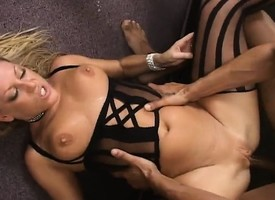 Sexy comme ci gets nailed overwrought a baleful and white dick in a triumvirate with a DP