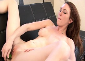 Blue ill-lit Megan Loxx uses a catch con dildo increased by vibrator out of reach of a catch con twat