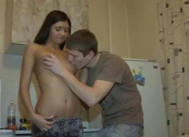 Brunette puerile gets her pussy fucked beyond everything a snug kitchen directors